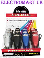 12 X 9 LED ULTRA BRIGHT METAL METALLIC TORCHES 4 COLOURS INCLUDES BATTERIES
