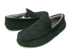 UGG ASCOT WOOL MEN SLIPPER SUEDE BLACK WIDE US 10 3E /UK 9 /EU 43