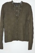 RALPH LAUREN Black Label Green 30% CASHMERE Cable Knit Cardigan Sweater Size L