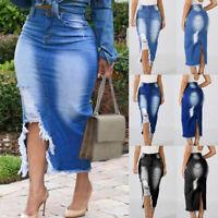 ❤️ Women's Bodycon Ripped Long Maxi Skirt Ladies Summer Beach Skinny Jean Dress
