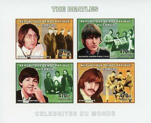 Congo Music Stamps 2006 MNH The Beatles John Lennon McCartney Starr 4v IMPF M/S