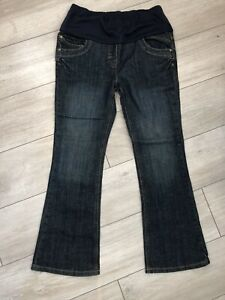 Dorothy Perkins Blue Stretchy Denim Over The Bump Bootcut Jeans Uk10 VGC