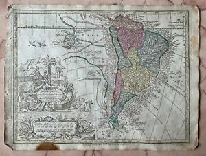 Original Antique Map 1770 South America Brazil Argentina Venezuela Chile Seutter