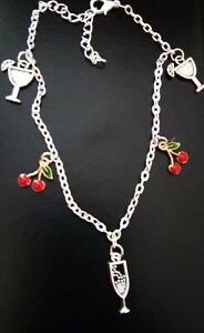 A FUNKY COCKTAIL Lovers Anklet on Silver Plated Chain - Enamel Cherry and Glass