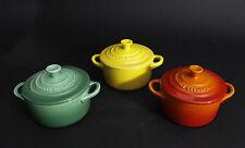 LE CREUSET Set 3x Petite Casserole Mini Cocotte Stoneware Green Orange Yellow