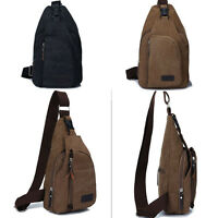 Men's Canvas Retro Handbag Messenger Shoulder Sling Military CrossBody Chest Bag