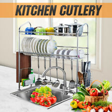 Stainless Steel Kitchen Drying Rack Drainer Shelf Cutlery Holder Over Sink Dish