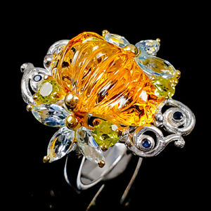 Carving Beautiful gem Citrine Ring Silver 925 Sterling  Size 8.5 /R172283