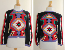 CHOMPAS - Sz S -Incredible Dazzler Indian Southwest Cardigan Sweater Hand-Knit