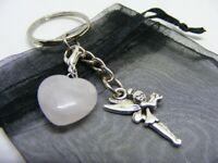 Natural Rose Quartz Crystal Heart & Fairy Tinkerbell Charm Keyring With Gift Bag
