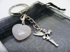 "TUMBLESTONE ROSE QUARTZ for Good Luck in /""LOVE /& HAPPINESS/"" Bag Charm Key Ring"