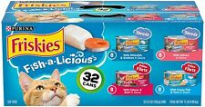 New listing Purina Friskies Wet Cat Food Variety Pack, Fish-A-Licious Shreds (32) 5.5Oz Cans