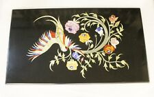 Table Top Restaurant Dining Center Bird Floral Inlay Black Madras Stone Replica