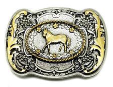 Pony Cavallo Fibbia della Cintura Western Floreale da Donna Autentico WHITE WOLF 24ct GOLD