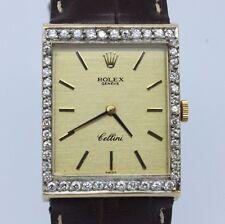 VINTAGE Rolex Cellini Mens Midsize 18k Gold & Diamond Square Watch ref.4014 1601