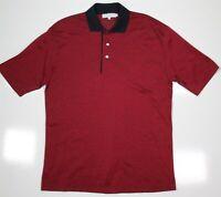 SULKA Navy Blue/Red Woven Cotton ITALY Polo Shirt~ Small