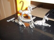 4 PEWTER UNICORN FIGURINES SPOONTIQUES ROCKING HORSE MYERS ALL MARKED ASST SZ **