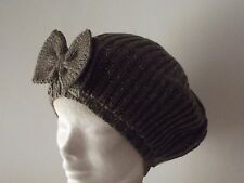 Ladies knitted beret hat - Big bow design