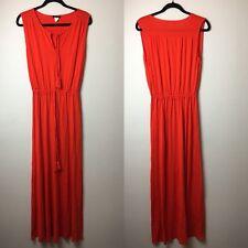 Venus Long Red Maxi Dress Drawstring Fitted Waist Sleeveless Womens Size Medium
