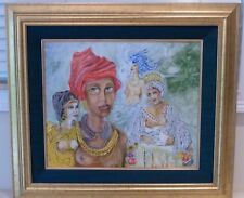 AFRO-CUBAN RELIGIOUS ORIGINAL PAINTING DEPICTING CHANGO OBATALA OSHUN AND YEMAYA