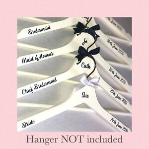 Personalised DIY Vinyl Wedding Hanger Decal Stickers - NAME ROLE DATE