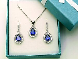 Tanzanite Pear Shaped Earrings And Pendant Set  .925 Sterling Silver,