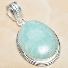"Handmade Aquamarine Amazonite Jasper 925 Sterling Silver Pendant 2"" #P06869"