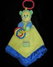 Prestige Baby Yellow Monkey Security Blanket Lovey Toy Squeaker Crinkle Blue