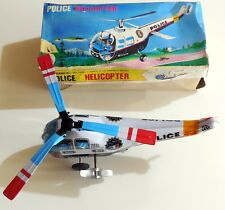 VINTAGE TIN TOY MECHANICAL POLICE HELICOPTER A CORDA MADE IN KOREA GIOCATTOLO