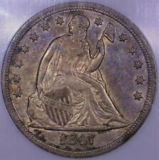 1847 Seated Liberty Silver Dollar NGC AU 55 nice original skin