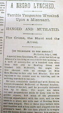 1883 newspaper Negro man LYNCHED Louisiana MISSOURI Pike Co for Rape White girl