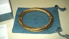GALLERIA MILANO GOLD POLISHED TWIST HIGED BANGLE BRACELET STERLING SILVER 925*L