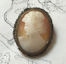 Broche Pendentif Camée Coquillage Vintage - Brooch Pendent Cameo Shell