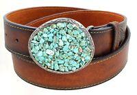 Women's Turquoise Pebble Big Western Belt Buckle Aged Finish Genuine Leather...
