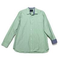 Charles Tyrwhitt Weekend SLIM Fit Shirt Mens XL Green FLIP CUFF Button Front