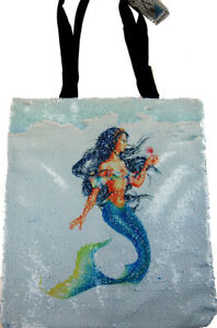 Lesser & Pavey Magic Reversible Sequin Mermaid Shoulder Shopper Shopping Bag NEW
