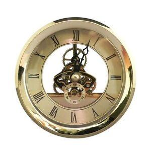Gold Metal Brass Antique Skeleton Clock Insert Battery Replace Repair DIY