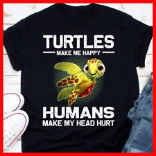Sea Turtle T-Shirt Turtles Make Me Happy Vintage Unisex Men Women Gift