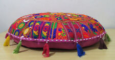 Pink Round Floor Cushion Cover Pillow Decor Bohemian Patchwork Seat Cover Indian