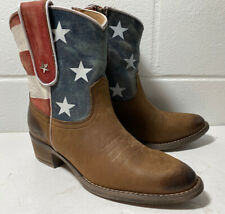 NEW Sheryl Crow Leather Americana ANKLE Size 6 Red White & Blue BOOTS Cheryl