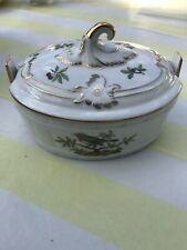VINTAGE HOCHST PORCELAIN HAND-PAINTED LIDDED BOWL BEAUTIFULLY GILDED