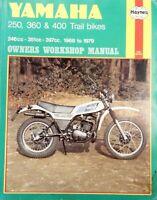 YAMAHA 250cc, 360cc, & 400cc OWNERS WORKSHOP MANUAL 1968 - 1979 ref B1A