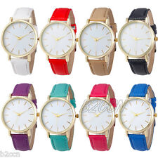 Fashion Men Women Quartz Watch Analog Gold Round Case Leather Band Wrist Watches