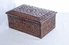 Wooden Hand Carved decorative trinket Jewelry Box with mirror and velvet lining