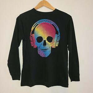Boy's Old Navy Skull Headphone Black Long Sleeve Graphic T-Shirt Size Large (10/