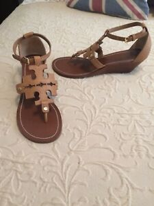 Tory Burch Chandler Wedge Sandals. Women's Size 10M. Camel Color. Nice!