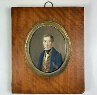 Antique c.1790s French Portrait Miniature, Man with Embroidered or Velvet Vest
