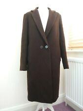 Jigsaw brown wool blend winter coat Long sleeves Pockets Collar VGC UK 12