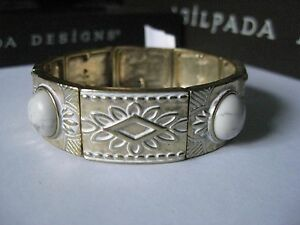 Silpada White Howlite and Brass Stretch Bracelet - NWT