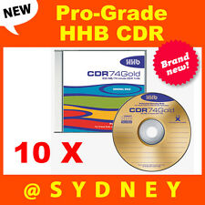10 x NEW HHB CDR-74 Gold Pro-Grade 650MB/74 Min Recordable Blank CD Compact Disc
